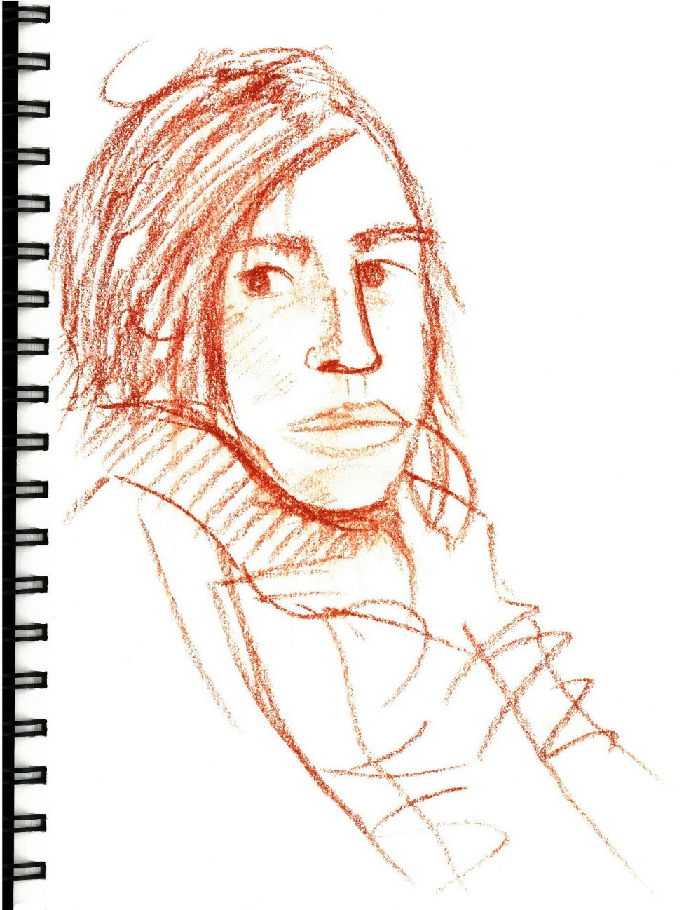 N on Couch Portrait, conté sketch