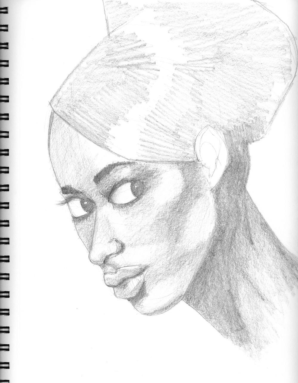 Female Portrait #3, graphite sketch