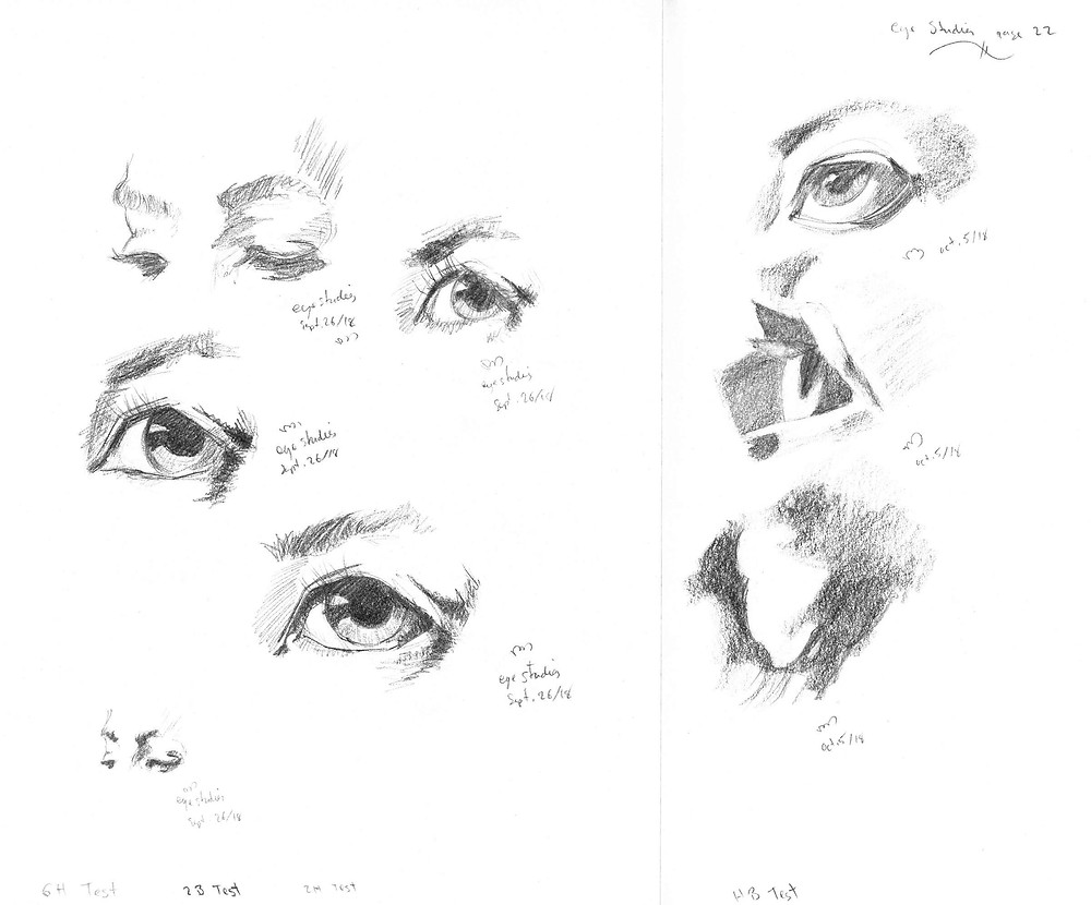 eye studies, graphite sketch