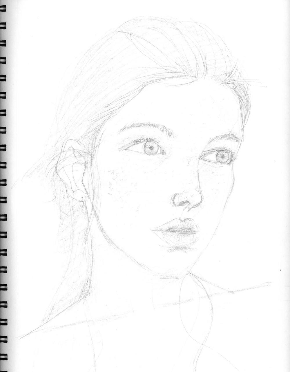 Female Portrait #4, graphite sketch