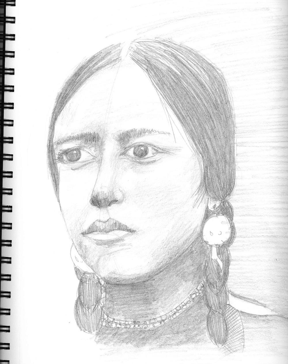 Female Portrait #2, graphite sketch