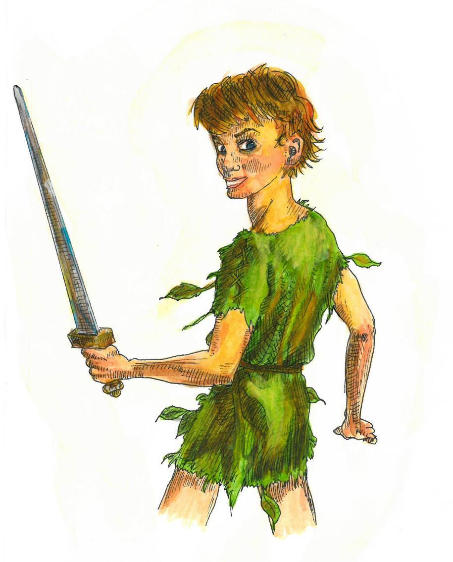 Peter Pan after Scott Gustafson, watercolour painting