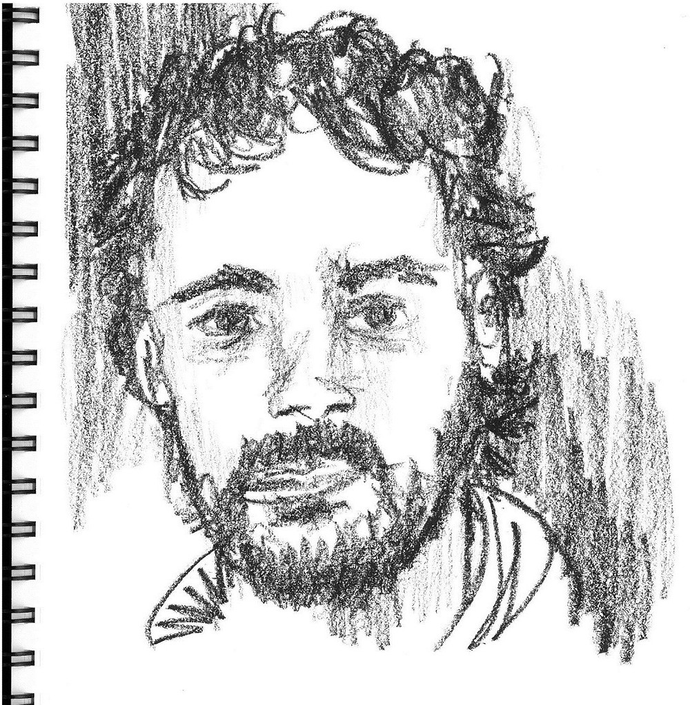 R at Thanksgiving Portrait, grease pencil sketch