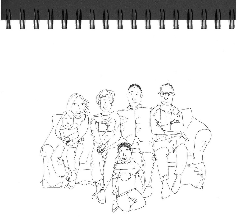 Family on Couch, ink cartoon sketch