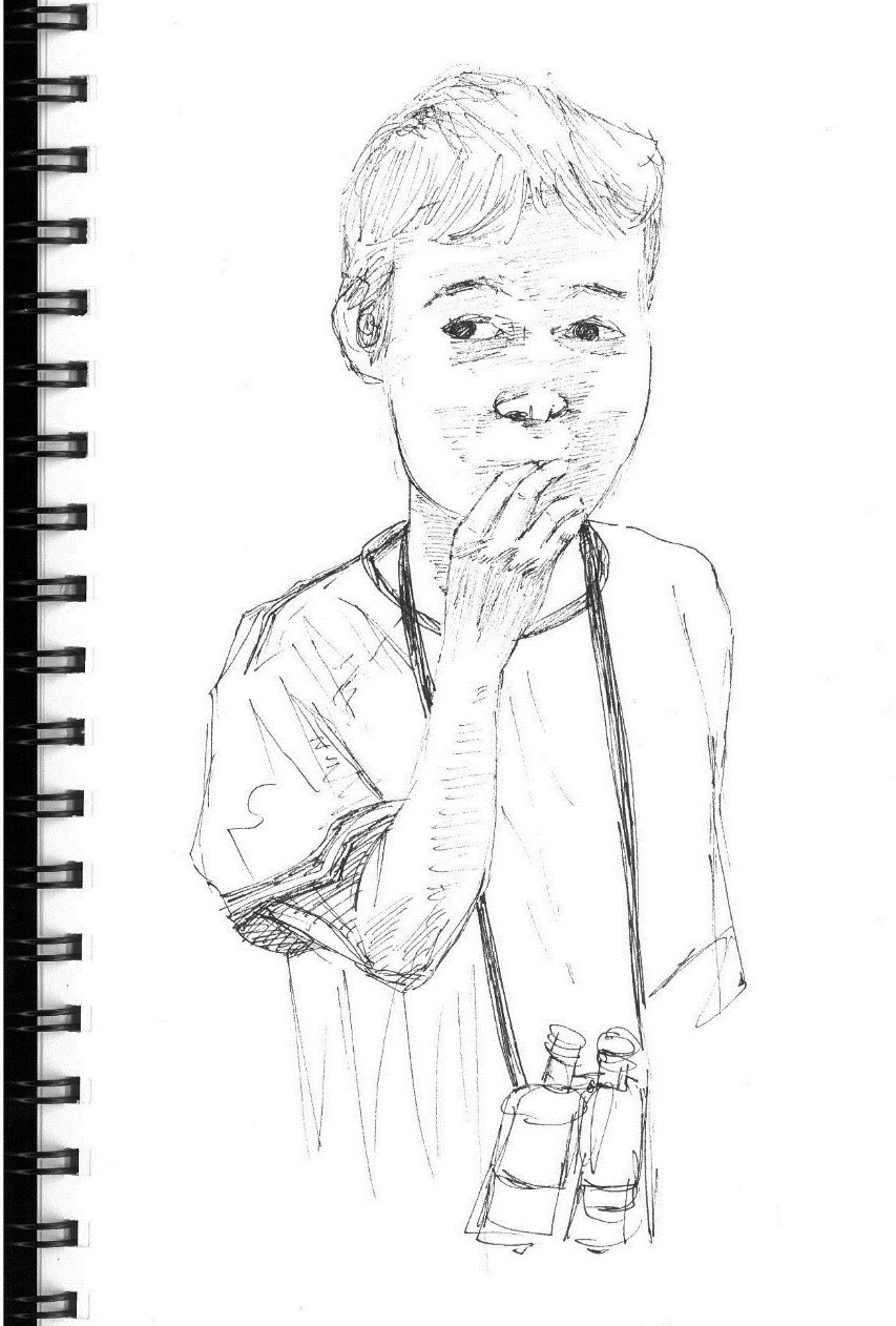 B with Binoculars Birdwatching, ink sketch