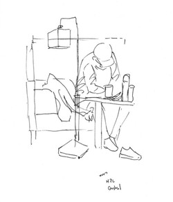 Sketch of Person in Library