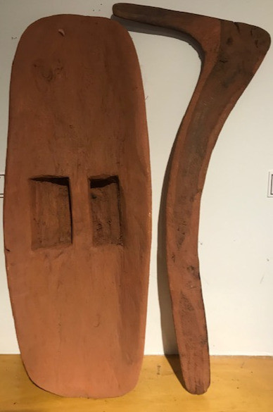 Ochre covered sheild and No. 7 boomerang