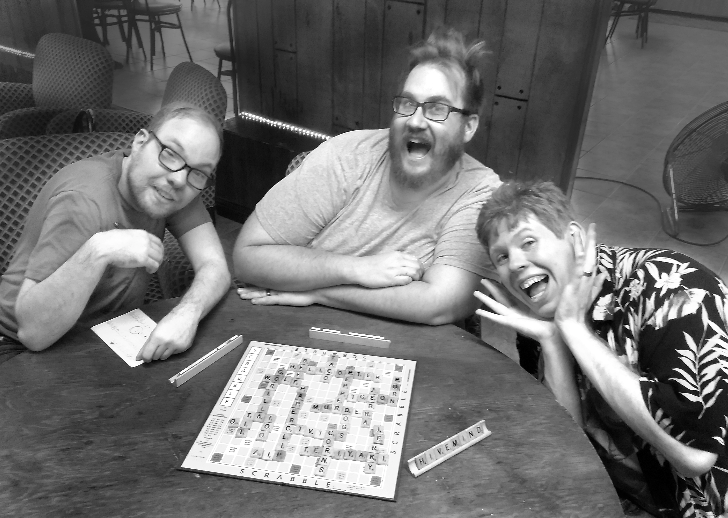 from left to right, Chris Cherry, Ray Friesen, Joe Heath, Norman Bingleigh, Chancellor Von Quasar, and the Doom sisters Edith and Meadith. Also Charlie the scrabble dog.