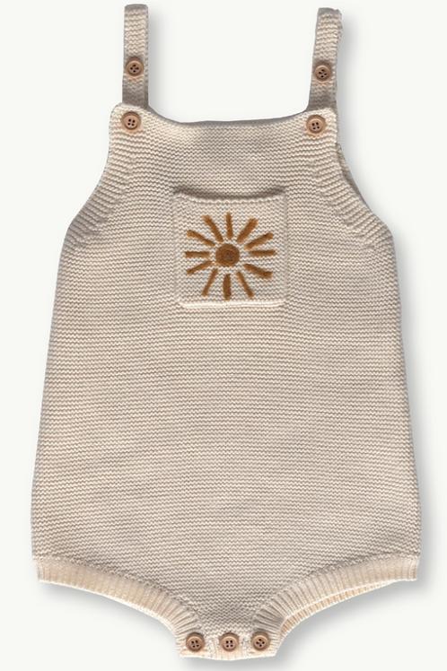 Pearl Knit Sun Romper - Milk