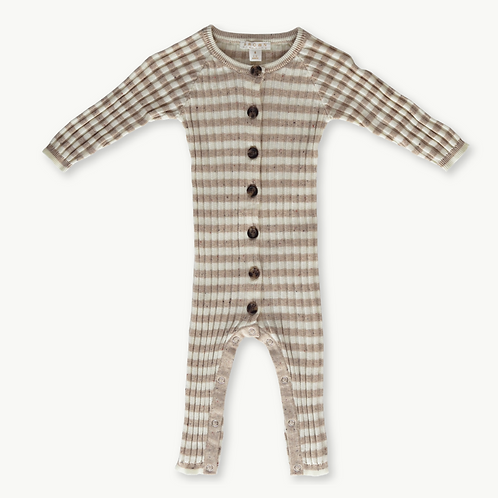Ribbed Stripe Speckle Jumpsuit - Fawn