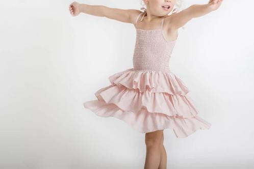 Tiered Shirred Dress - Blush