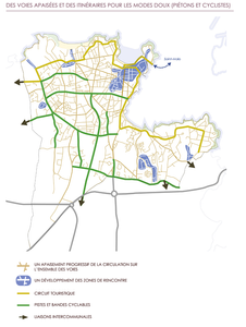 Plan vélo 2018 ; on remarquera que les rues St-Alexandre et des Vergers n'étaient pas prévues mais sont déjà réalisées !