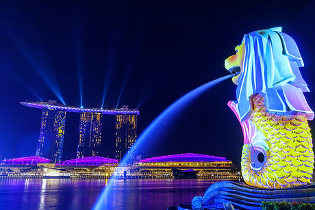 Lights%20shone%20on%20the%20Merlion%20as%20it%20overlooks%20Singapore's%20iconic%20Marina%20Bay%20Sa