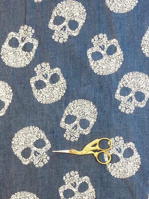 Skull Print Denim Chambray