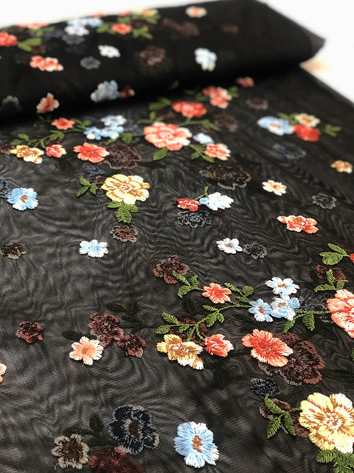 Black embroidered tulle