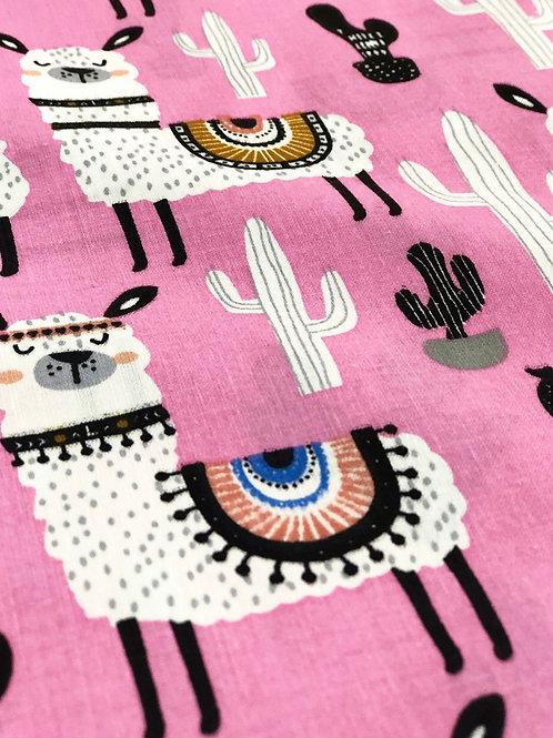 Llama Drama Pink Cotton