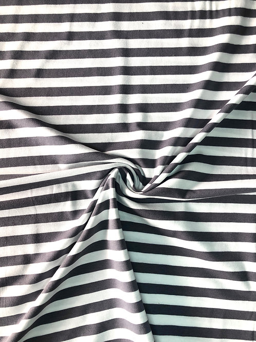 Charcoal Stripe Cotton Jersey