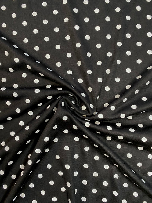 Black Polka Dot Viscose Jersey