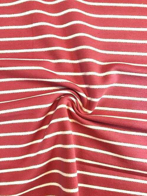 Dark Rose Stripe French Terry Cotton Jersey
