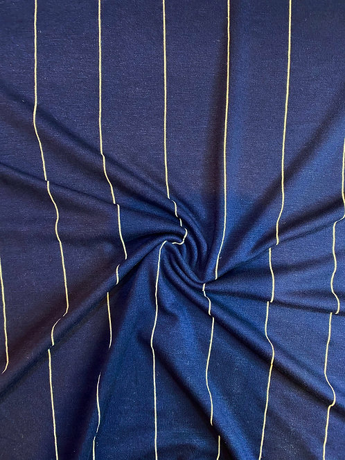 Navy Viscose Stripe Jersey