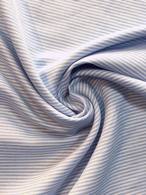 Blue and White Striped Cotton Blend