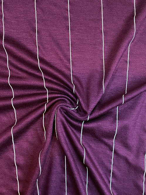 Plum Viscose Stripe Jersey