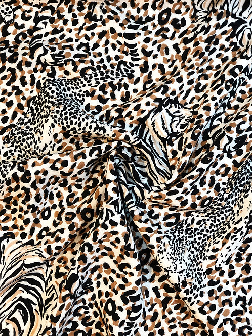Viscose Challis Wild Animals