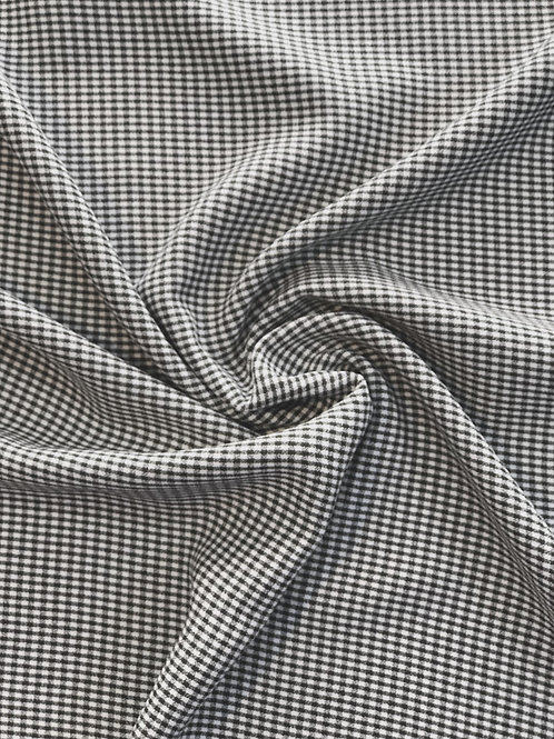 Black and White Mini Check Viscose Mix