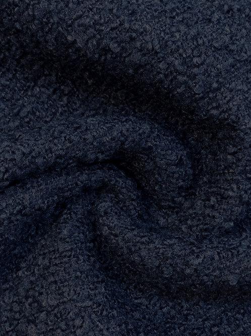 Navy Bouclé Wool Blend