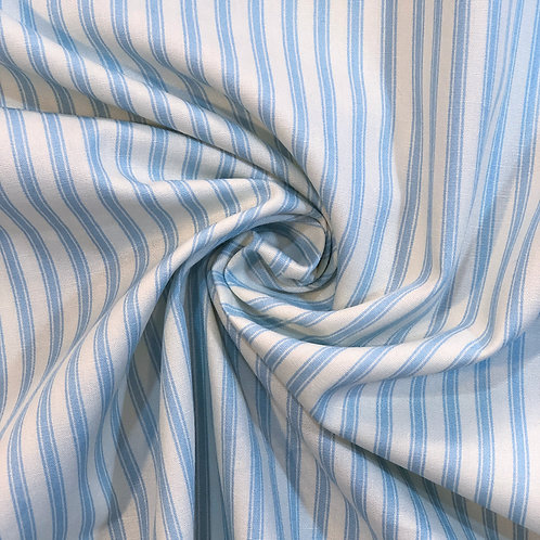 Blue Stripe Cotton Poplin