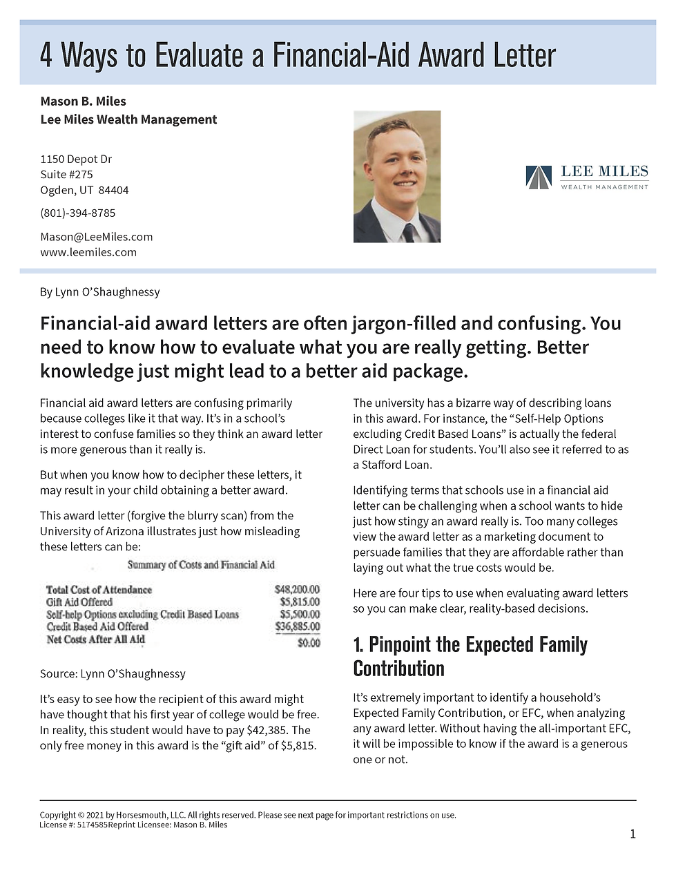 4 Ways to Evaluate a Financial-Aid Lette