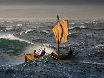 The disciples try to keep their fishing boats afloat in a very stormy Sea of Galilee.
