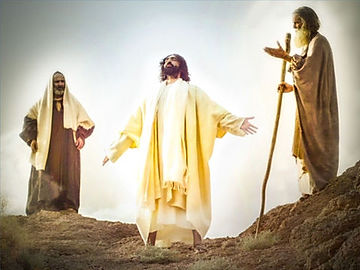 This photo depicts Jesus' transfiguation on Mount Hermon, flanked by the Hebrew prophets Moses and Elijah.