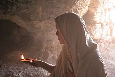 Mary Magdalene enters the cave where Jesus was buried after his crucifixion.