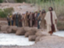 Jesus leads his twelve disciples across a footbridge over a stream soon after he calls them to follow him.