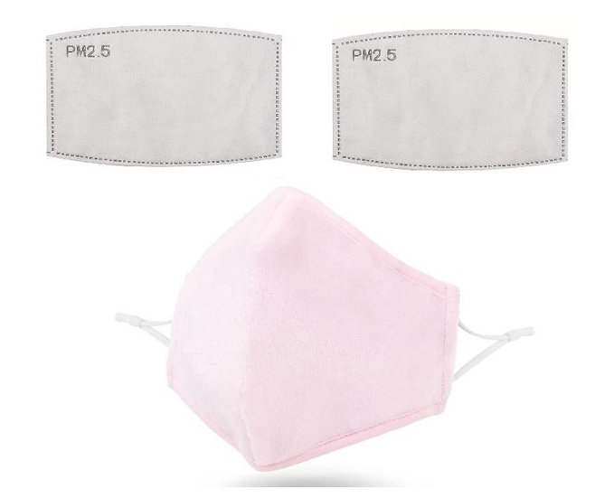 Dusty Pink Washable Reusable Anti-Pollution Face Mask with 2 Replacement Filters