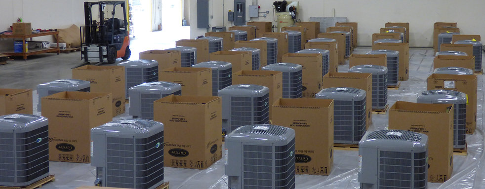 Carrier condenser units being prepped for coatig