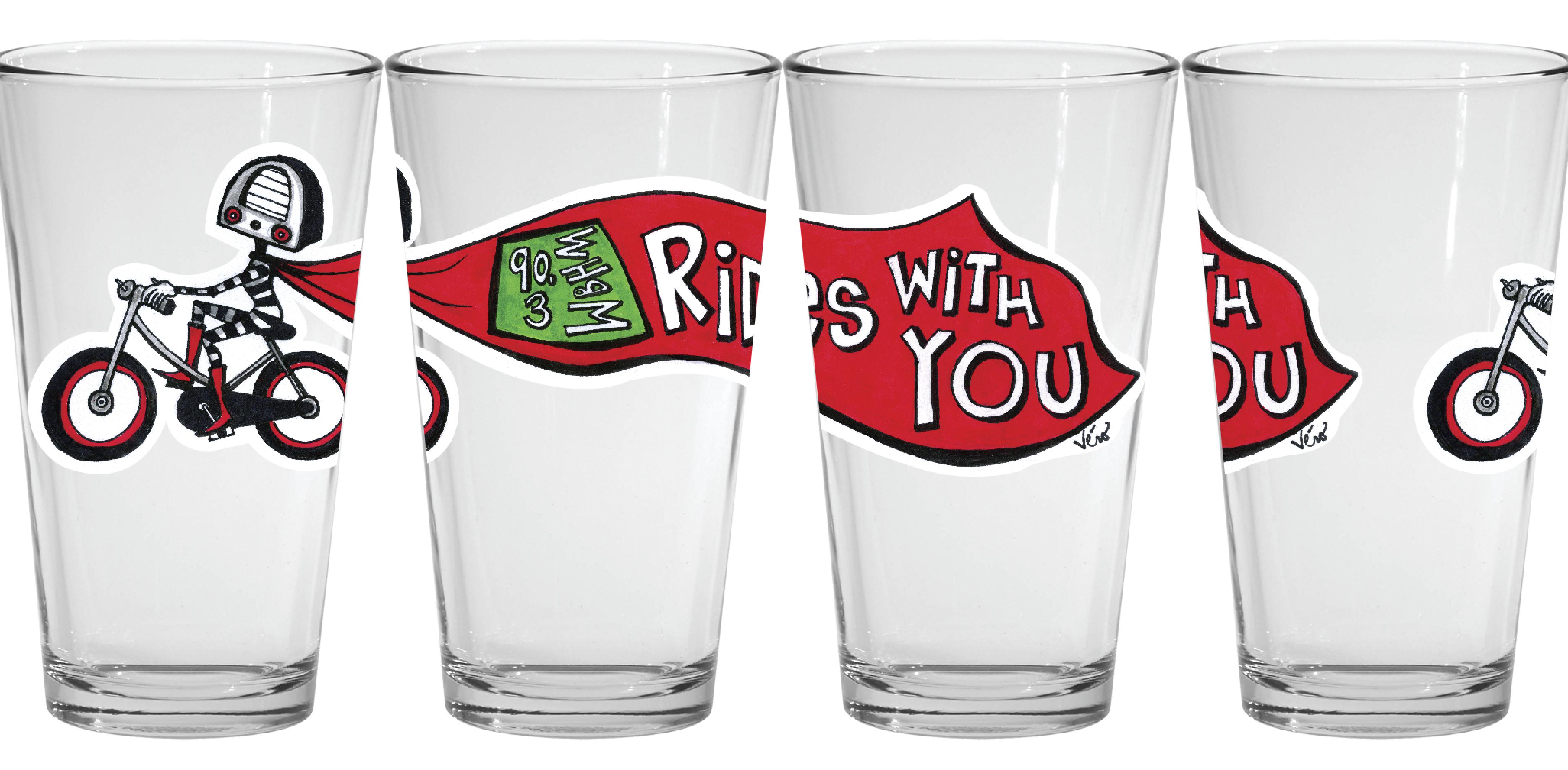 WBHM design on pint glasses