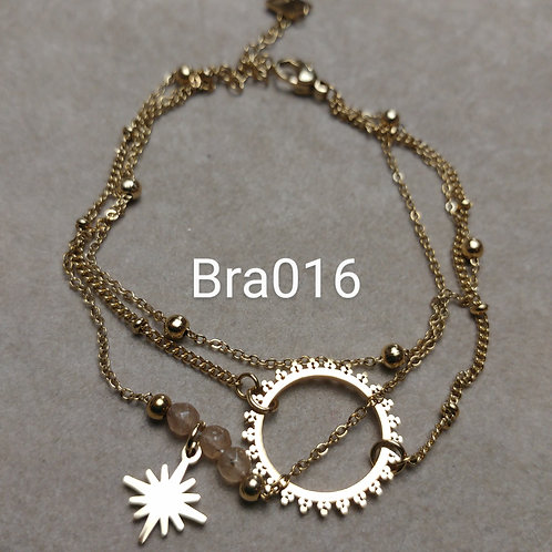 Bracelet Acier 3 rangs ECLIPSE beige