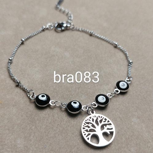 Bracelet Acier ARBRE + OEIL noir