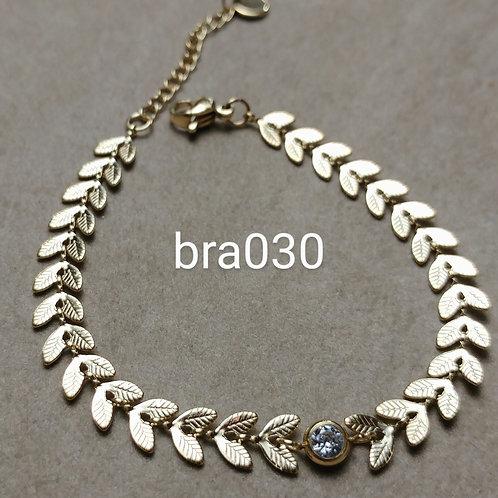 Bracelet Acier LAURIERS strass blanc