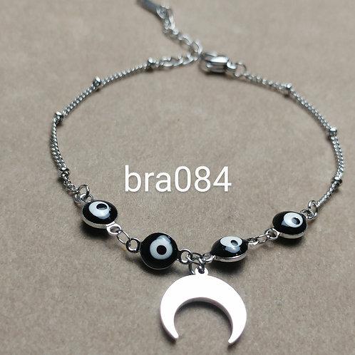Bracelet Acier LUNE + OEIL noir
