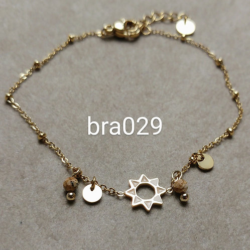 Bracelet Acier Etoile beige- bra029