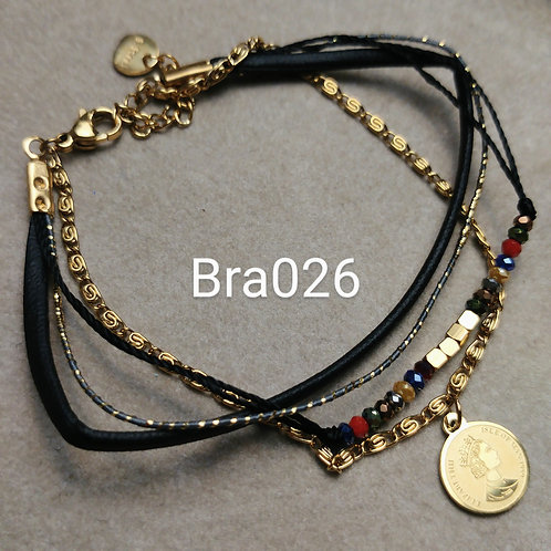 Bracelet Acier 4 rangs RUBAN noir