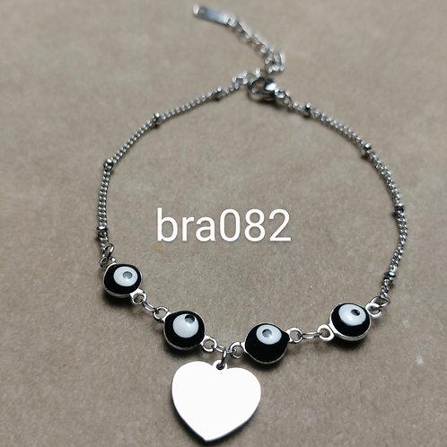 Bracelet Acier COEUR + OEIL noir