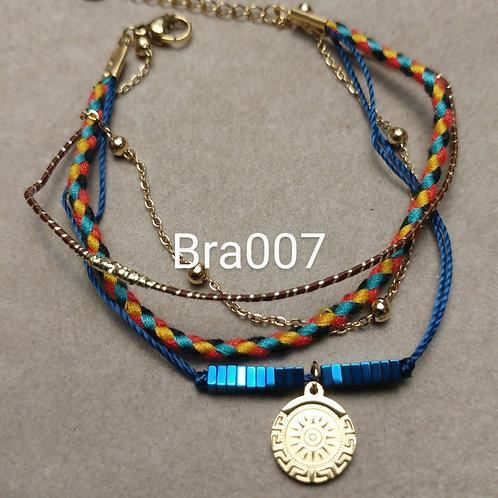 Bracelet Acier 4 rangs HEMATITE bleu