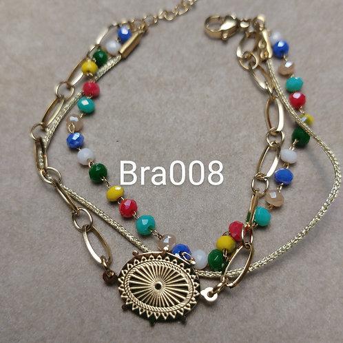Bracelet Acier 3 rangs CONNECT multicolore