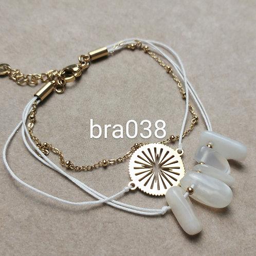 Bracelet Acier 3 rangs SOLEIL BLANC