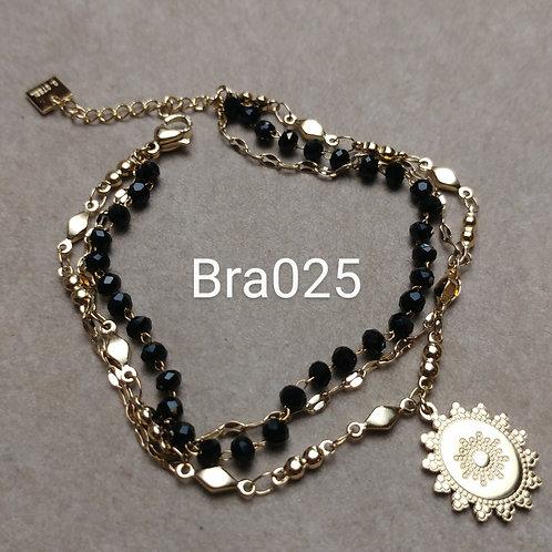 Bracelet Acier 3 rangs MEDAILLE noir