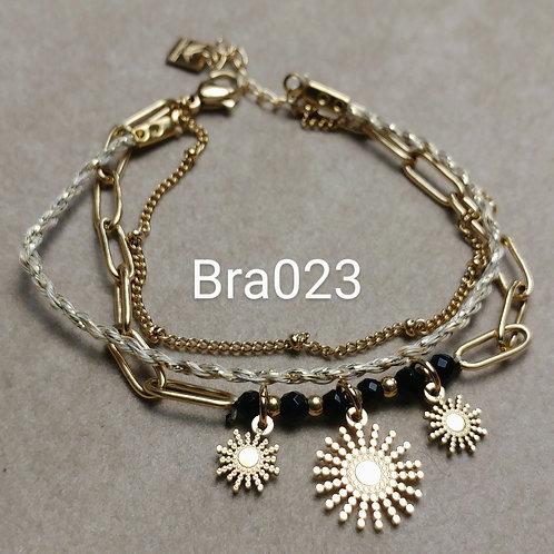 Bracelet Acier 3 rangs SOLEILS noir